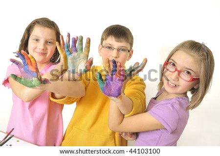 painted hands - stock photo