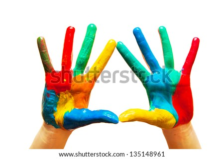 Painted hands, colorful fun. Creative, funny and artistic means happy! Isolated on white. - stock photo