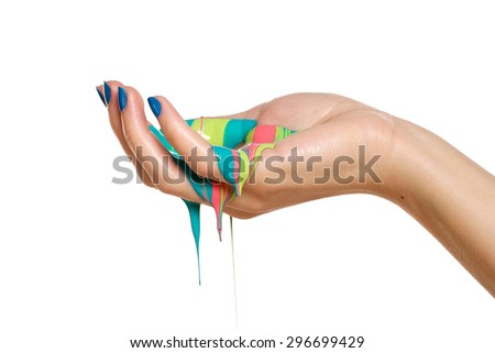 Painted hands droplets, colorful fun isolated on white with mixed colors. Creative, funny and artistic means happy! - stock photo