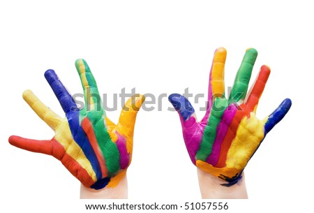 painted  hands in colorful paints - stock photo