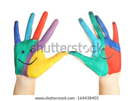 Painted hands with smile isolated on white