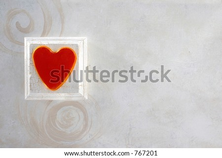 Painted heart and spirals horizontal background.