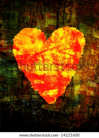 painted heart symbol on grunge old background - stock photo