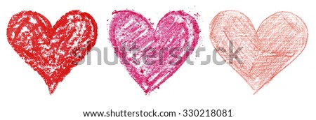 Painted hearts isolated on white - stock photo