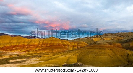 Painted Hills Unit.  John Day Fossil Beds National Monument, Northeastern Oregon, U.S.A. - stock photo