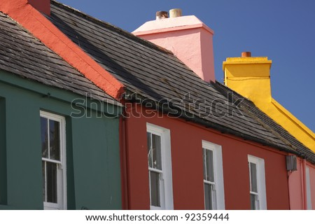 Painted houses in Eyeries village on the Beara peninsula in West Cork in Ireland, Europe - stock photo