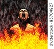 Painted illustration of a screaming man in flames - stock