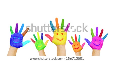 Painted in different colors smiling colorful hands rising up, ready for your logo, text or symbols. The concept of diversity, meeting and socializing. Isolated on white background - stock photo