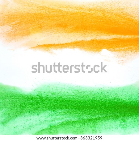 Painted Indian flag colors. Abstract water color paint brush strokes. Artistic Republic day background. - stock photo