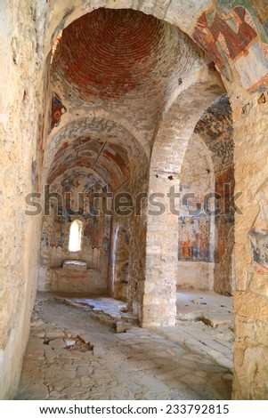 Painted interior of Byzantine church from Mystras fortified town (UNESCO heritage), 27th of May 2014, Greece