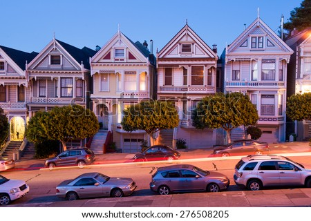 Painted Ladies houses from Alamo Square - stock photo