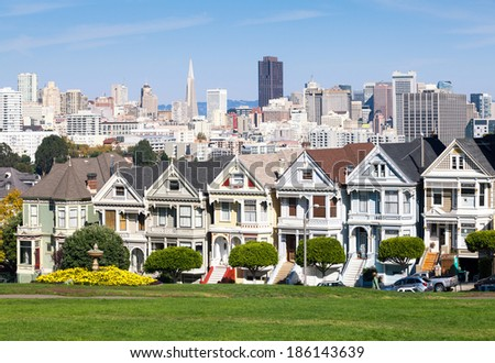 Painted Ladies houses in San Francisco - stock photo