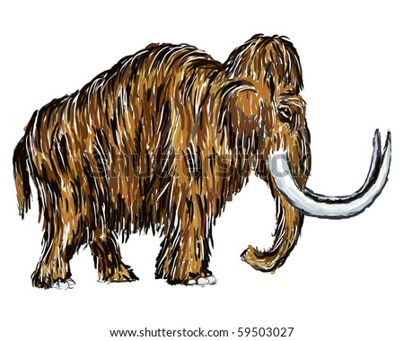 painted mammoth on white background - stock photo