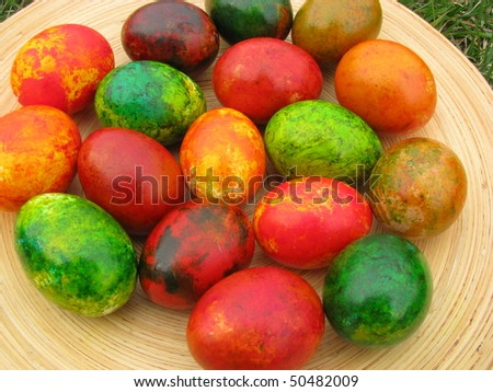 painted marble eggs - stock photo