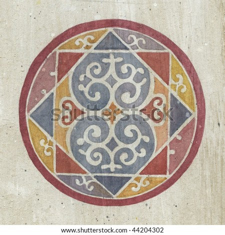 Painted medieval fresco pattern, monastery Zica, Serbia - stock photo