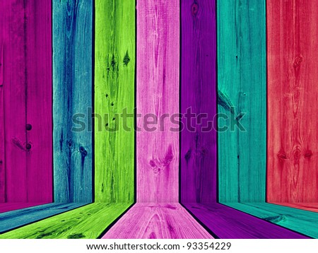 Painted Multicolored Wooden Room - stock photo