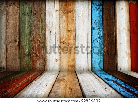 painted multicolored wooden room interior - stock photo