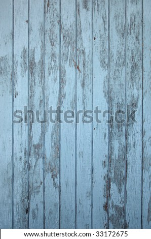 painted old blue wood - stock photo
