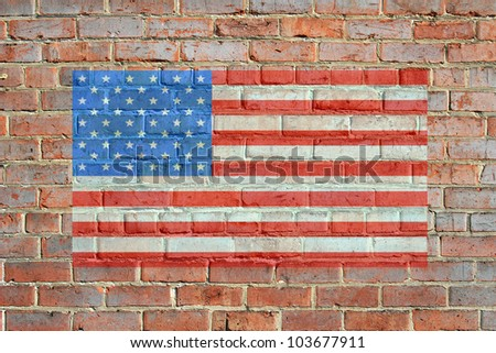 Painted on bricks american flag illustration, with an old retro look. bordered by red brick wall, giving a framed appearance. / Painted American Flag on Brick Wall / Great patriotic background. - stock photo