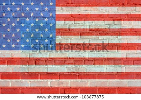 Painted on bricks american flag illustration, with an old retro look./  Painted, American Flag on Bricks / Nice retro look, for whatever idea you have in mind.