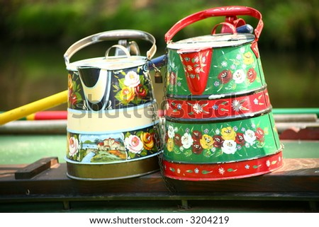 PAINTED ORNATE WATER CONTAINERS - stock photo