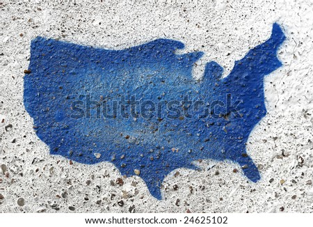 Painted outline of USA on rough cement. - stock photo