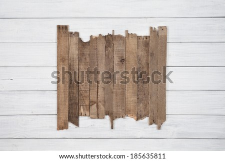 Painted Plain Gray or White Rustic Wood Board Background with Old Brown Wood Planks in center. Blank Room or Space for copy, text, words.  - stock photo