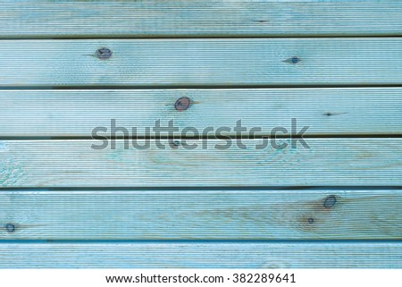 Painted Plain Teal Blue and Gray Rustic Wood Board Background that can be either horizontal or vertical. Blank Room or Space area for copy, text, your words, above looking down view.  - stock photo