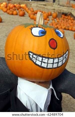 Painted pumpkin head on pumpkin patch - stock photo