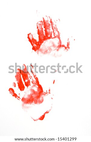 Painted red hand prints
