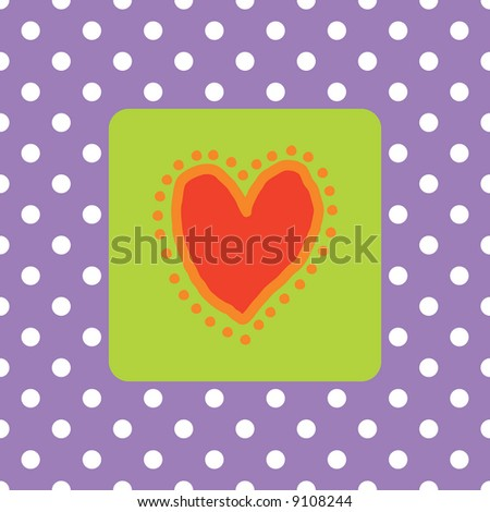 Painted red heart with polkadots (Marriage / wedding announcement card) - stock photo