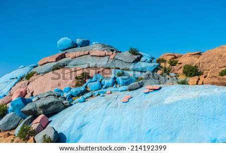 Painted Rocks, Tafraoute, Morocco - stock photo