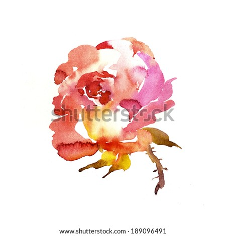 Painted rose for greeting cards, blog design, or wedding stationery and invitations - stock photo