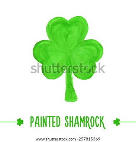 Painted shamrock for design of St. Patricks Day items. Isolated element for greeting card, cover, presentation, web site, banner, etc. - stock photo