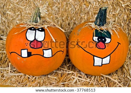 Painted Pumpkin Faces Silly