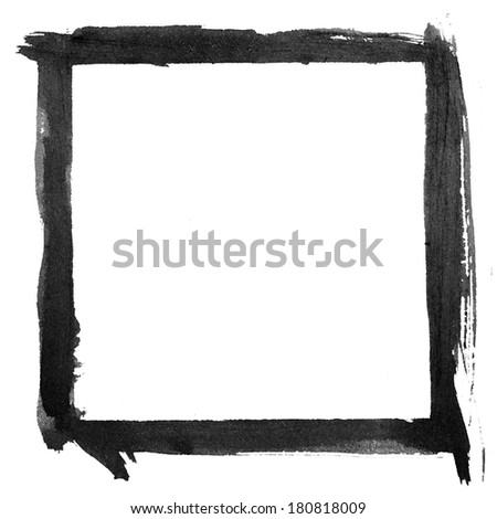 Painted square frame. Ink on rough textured paper. - stock photo
