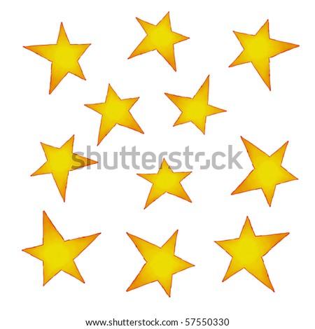 painted stars - stock photo