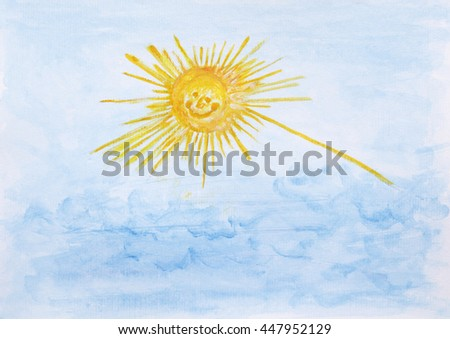 Painted sun with clouds