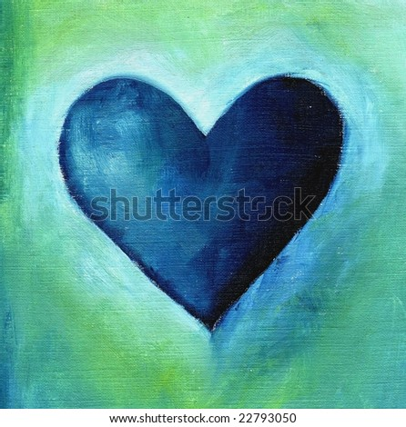 Painted textured valentine heart in blue and green on white background.Art is created and painted by photographer.