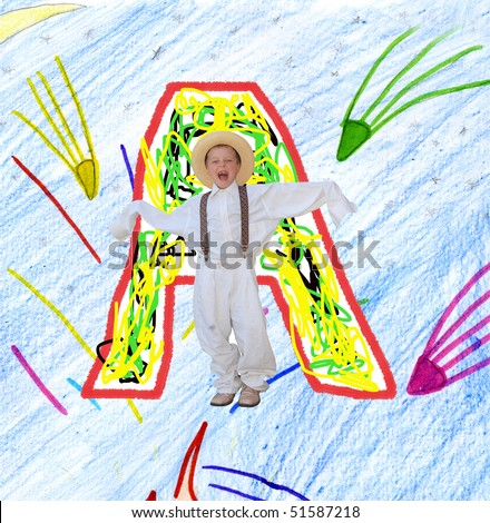 Painted the letter A, for a child's drawing with the child. - stock photo