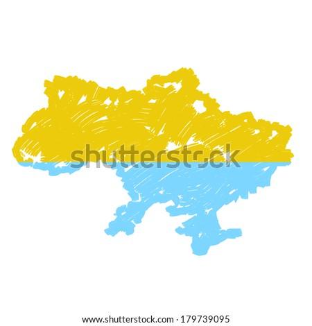 Painted Ukraine map - stock photo