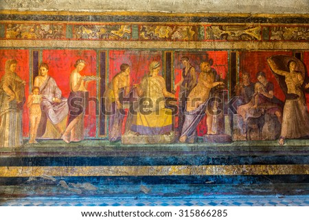 Painted wall  in Pompeii city  destroyed  in 79BC by the eruption of Mount Vesuvius - stock photo