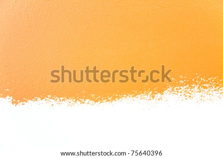 painted wall's background / orange / real texture /  isolated on white with copy space - stock photo