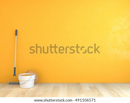 Painted Wall Yellow Color 3 D Rendering Stock Illustration 491106571 ...