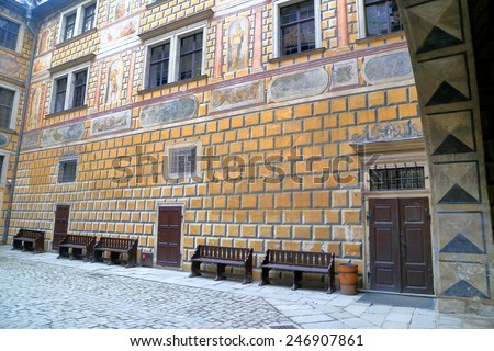 Painted walls of medieval castle in Cesky Krumlov, Czech Republic - stock photo