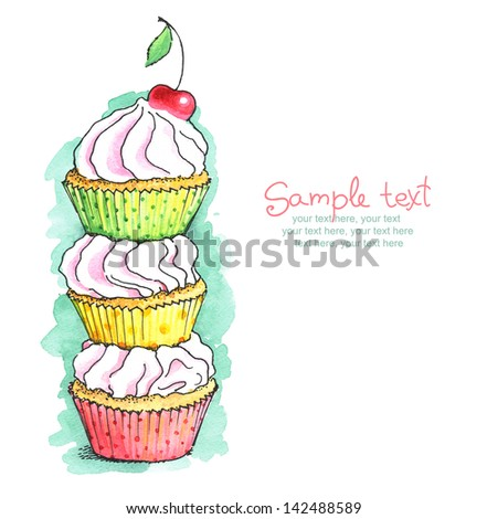 painted watercolor card with cupcakes. - stock photo