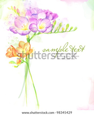 Painted watercolor card with freesia and text