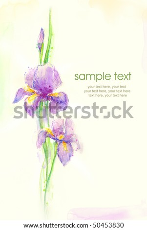 Painted watercolor card with iris and text - stock photo
