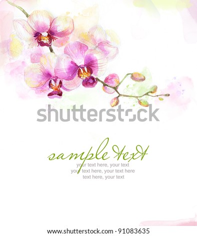 Painted watercolor card with orchid and text - stock photo