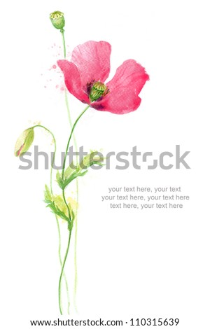 Painted watercolor card with poppy and text - stock photo